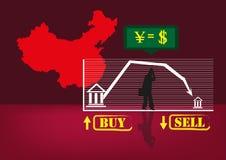 Chiny Kontynentalni degrengolady lub problemu gospodarki pojęcie royalty ilustracja