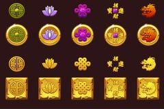 Chiny monety ustawiać Wektorowe Złote ikony z Chińskimi symbolami i klejnotami ilustracji
