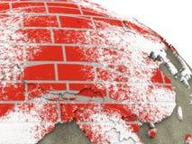Chiny na ściana z cegieł ziemi Zdjęcia Royalty Free