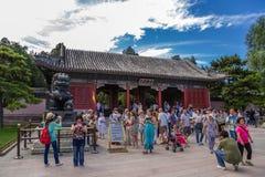 Chiny, Pekin Orientalna pałac brama - główne wejście Cesarski lato pałac (Donggongmen) Obrazy Royalty Free