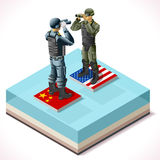 Chiny Usa 01 Infographic Isometric Fotografia Royalty Free
