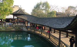 Chiny, wuzhen Wodnego Villageï ¼ ŒLong korytarz Obraz Stock