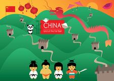 Chiny ziemia daleki wschód z pięknymi ilustracjami ilustracji