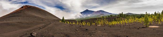 Chinyero, con il supporto Teide nei precedenti Tenerife Immagini Stock