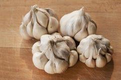 Chiodi di garofano di aglio sul bordo di legno Fotografie Stock