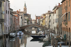 Chioggia with bridges and historical Buildings Stock Photography