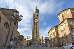 Chioggia . Historic center of Chioggia. The medieval cathedral Santa Maria Assunta in Chioggia, situated on the lagoon of Venice, royalty free stock photography