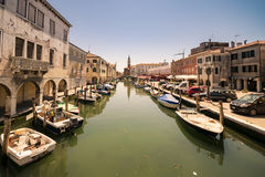 Characteristic canal in Chioggia, lagoon of Venice. Stock Photography