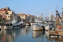 Chioggia, VE, Italia - 11 febbraio 2018: Grande MOO dei pescherecci Immagini Stock