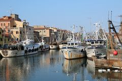 Chioggia, VE, Italy - February 11, 2018: Large fishing boats moo Stock Images
