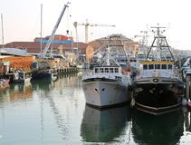 Chioggia, VE, Italy - February 11, 2018: Large fishing boats moo Royalty Free Stock Photography