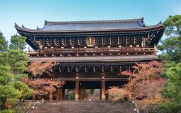 Chion-in Sanmon Buddhist Temple in autumn in Japan. Autumn view of Chion-in Sanmon Buddhist Temple located just outside Maruyama Park in Gion District, Kyoto stock photos