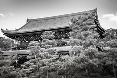 Chion-in Sanmon Buddhist Temple in Kyoto in black and white. View of Chion-in Sanmon Buddhist Temple in black and white with large pine trees in the foreground stock photography