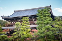 Chion-in Sanmon Buddhist Temple with large pine trees in the foreground in Kyoto. View of Chion-in Sanmon Buddhist Temple with large pine trees in the foreground stock photos