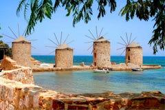 Chios, Grèce, les quatre moulins à vent photo stock