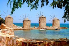 Chios, Griechenland, die vier Windmühlen Stockfoto