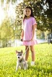 Chiot de marche de jeune fille asiatique sur la laisse sur l'herbe Image stock