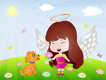 Chiot et Angel Vector Illustration Photographie stock