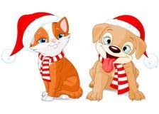Chiot et chaton de Noël Image libre de droits