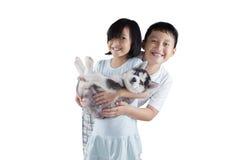 Chiot heureux de chien de traîneau sibérien de prises d'enfants Photographie stock libre de droits