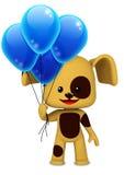 Chiot heureux tenant des ballons images stock