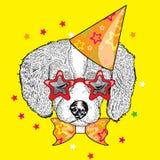 Chiot mignon dans un chapeau de célébration et des verres drôles Illustration de vecteur Carte postale ou affiche, copie sur des  illustration libre de droits