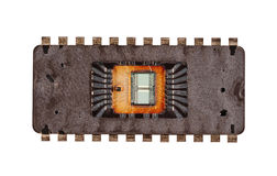 Chip. High Technology Chip - View With Removed Top Plate Stock Photos