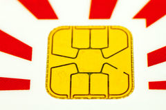 Chip. Two credit card chip macro Stock Image