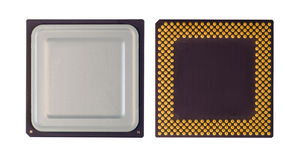 Chip. Central processor unit, vew from top and down Stock Photography