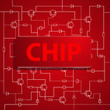 The chip on the background of electronic scheme. Stock Image