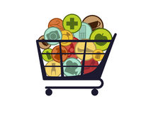 Chip basket. Isolated chip basket with goods icons vector illustration