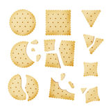 Chip Biscuit Cookie Vector pungente Cracker nelle forme differenti Immagine Stock Libera da Diritti