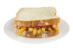 Chip Butty Sandwich Royalty Free Stock Photos