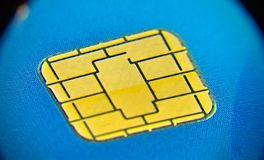 Chip card. Close up Business chip card with blue Royalty Free Stock Photography