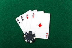 Chip and cards for the poker. Royalty Free Stock Photos