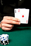 Chip and cards for the poker. Stock Image