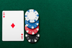 Chip and cards for the poker. Stock Photo