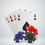 Chip and cards for poker. Casino Stock Photography