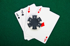 Chip and cards for the poker. Royalty Free Stock Image