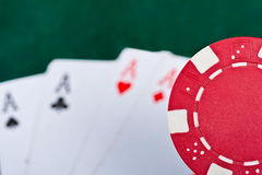 Chip and cards for the poker. Royalty Free Stock Images