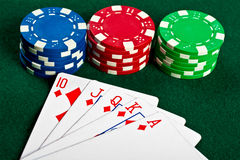 Chip and cards for the poker. Royalty Free Stock Photo