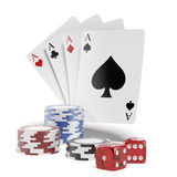 Chip and cards for poker Stock Images