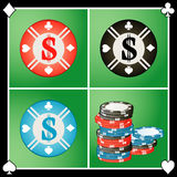 Chip casino. Vector Chip casino on green background Stock Images