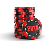 Chip of casino 2018. Image with clipping path vector illustration