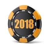 Chip of casino 2018. Image with clipping path royalty free illustration