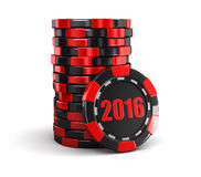 Chip of casino 2016 (clipping path included) Royalty Free Stock Photo