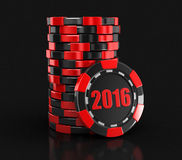 Chip of casino 2016 (clipping path included) Royalty Free Stock Photography