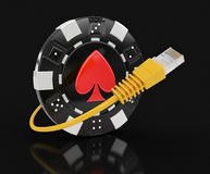 Chip of casino and Computer Cable Royalty Free Stock Images