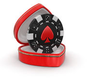 Chip of casino in the heart box (clipping path included) Royalty Free Stock Photography