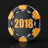 Chip of casino 2018. Image with clipping path stock illustration